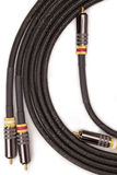 Isolate audio video cables. Group of gold plated audio video cables Stock Photography