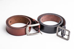 Isolate black and  brown leather belt on white background Royalty Free Stock Image