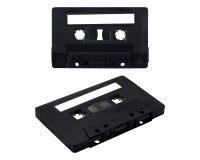 Isolate Black Cassette Tape. On white background Stock Photos