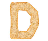 Isolate Bread Alphabet. Isolate bread letter, alphabet on white background Royalty Free Stock Images