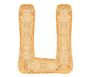 Isolate Bread Alphabet. Isolate bread letter, alphabet on white background Royalty Free Stock Image