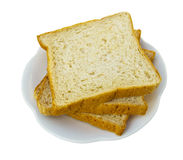 Isolate bread on a white plate. Royalty Free Stock Photography