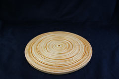 Free Isolate Circle Wood Tray On Black Background, With Work Path. Stock Photography - 96152272