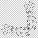 Isolate corner ornament in baroque style. Isolate vintage baroque ornament retro pattern antique style acanthus. Decorative design element filigree calligraphy Stock Photos