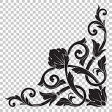 Isolate corner ornament in baroque style. Isolate vintage baroque ornament retro pattern antique style acanthus. Decorative design element filigree calligraphy Stock Images