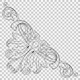 Isolate corner ornament in baroque style. Isolate vintage baroque ornament retro pattern antique style acanthus. Decorative design element filigree calligraphy Royalty Free Stock Images