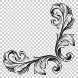 Isolate corner ornament in baroque style. Isolate vintage baroque ornament retro pattern antique style acanthus. Decorative design element filigree calligraphy Stock Photography