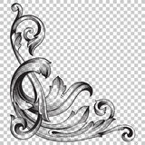 Isolate corner ornament in baroque style Stock Images