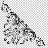 Isolate corner ornament in baroque style. Isolate vintage baroque ornament retro pattern antique style acanthus. Decorative design element filigree calligraphy Royalty Free Stock Photo