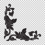 Isolate corner ornament in baroque style. Isolate vintage baroque ornament retro pattern antique style acanthus. Decorative design element filigree calligraphy Royalty Free Stock Image