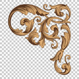 Isolate corner ornament in baroque style. Isolate vintage baroque ornament retro pattern antique style acanthus. Decorative design element filigree calligraphy Stock Image
