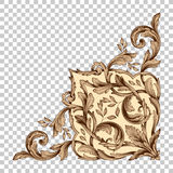 Isolate corner ornament in baroque style Stock Photography