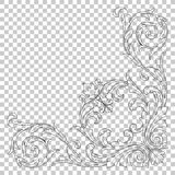 Isolate corner ornament. Isolate vintage baroque ornament retro pattern antique style acanthus. Decorative design element filigree calligraphy vector. You can Stock Image