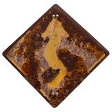Isolate Curved Road Traffic Sign Rusted Old. Royalty Free Stock Photo