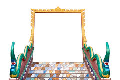 Isolate door frame of thai temple. Royalty Free Stock Images