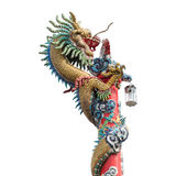 Isolate dragon on red pole Royalty Free Stock Photography