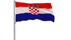 Isolate flag of Croatia on a flagpole fluttering in the wind on a white background, 3d rendering. Stock Images