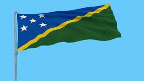 Isolate flag of Solomon Islands on a flagpole, 4k prores footage, alpha transparency. Isolate flag of Solomon Islands on a flagpole fluttering in the wind on a vector illustration