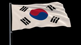 Isolate flag of South Korea on a flagpole fluttering in the wind on a transparent background, 3d rendering, 4k prores. 4444 footage with alpha transparency stock illustration