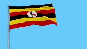 Isolate flag of Uganda on a flagpole fluttering, 4k prores footage, alpha transparency. Isolate flag of Uganda on a flagpole fluttering in the wind on a vector illustration