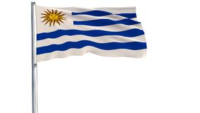 Isolate flag of Uruguay on a flagpole fluttering in the wind on a white background  Royalty Free Stock Photos