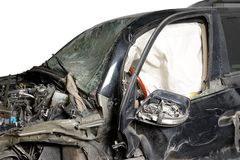 Isolate the front of the black car crash caused by accident. Isolate front of the black car crash caused by accident stock images