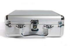 Isolate front panel of silver briefcase Stock Image