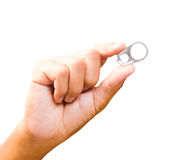 Isolate the group ring pull can opener on hand of man. Royalty Free Stock Photo