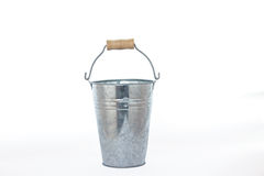 Isolate Grung rustic zinc bucket on white back ground with woode Stock Photos