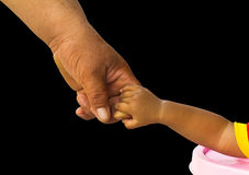 Isolate hand holding adult children. Stock Photo