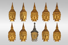Isolate heads of buddha Royalty Free Stock Image