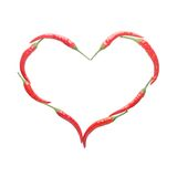 Isolate heart shape from red chili Stock Photo