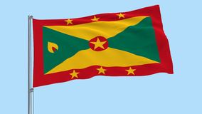 Isolate large cloth of Grenada on a flagpole fluttering in the wind on a transparent background, 3d rendering, PNG format with Alp. Ha channel transparency stock video footage