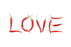 Isolate love letter from red chili Royalty Free Stock Image