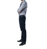 Isolate Man in trendy suit standing alone in white background Stock Photos
