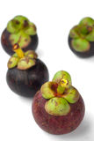 Isolate mangosteen on white background. The tropical purple fruit Stock Photos