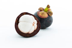 Isolate mangosteen on white background Royalty Free Stock Images
