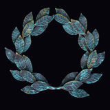 Isolate metal wreath of forged leaves with patina and rust on a Stock Photo