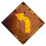 Isolate old left turn sign. royalty free stock images