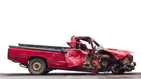 Isolate Old Red Car Demolished. Stock Photo