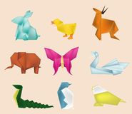 Isolate of paper craft animal. Isolate of paper craft 6 kind of animal Stock Photos