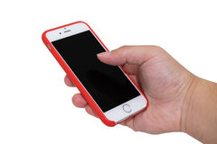 Isolate phone has a red case with mobile applications by using f Stock Photo