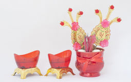 Isolate picture of Chinese incense burner and red cendle Royalty Free Stock Image