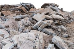 Isolate pile of destroyed concrete road. Stock Photography