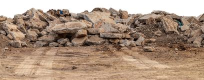 Isolate Pile Of Concrete Debris Stock Photography