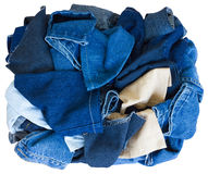 Isolate pile of scrap denim. Stock Photos