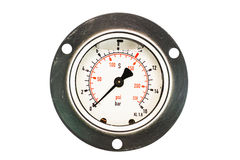 Isolate Pressure Gauge. With oil inside for reduce virbation of the pin Royalty Free Stock Photos