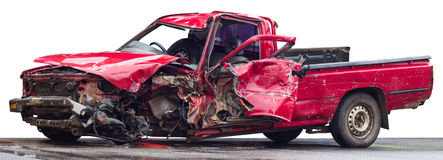 Isolate red car was demolished. Isolate the old red car accident, which was plying the crash crumpled demolished Stock Image