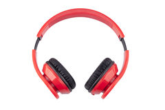 Isolate Red Earphones with black pading Stock Photos