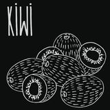 Chalkboard ripe kiwi fruit. Isolate ripe kiwi fruit as chalk on blackboard. Close up clipart in chalkboard style. Hand drawn icon Royalty Free Stock Photography